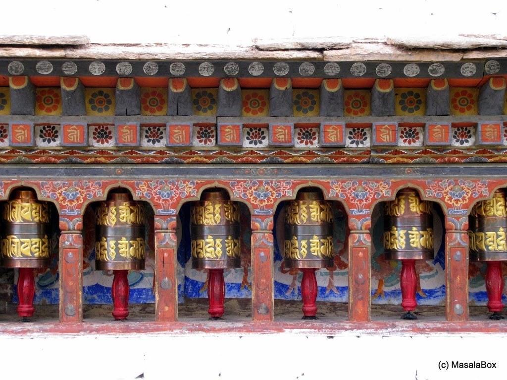 Prayer wheels around Kyichu Monastery