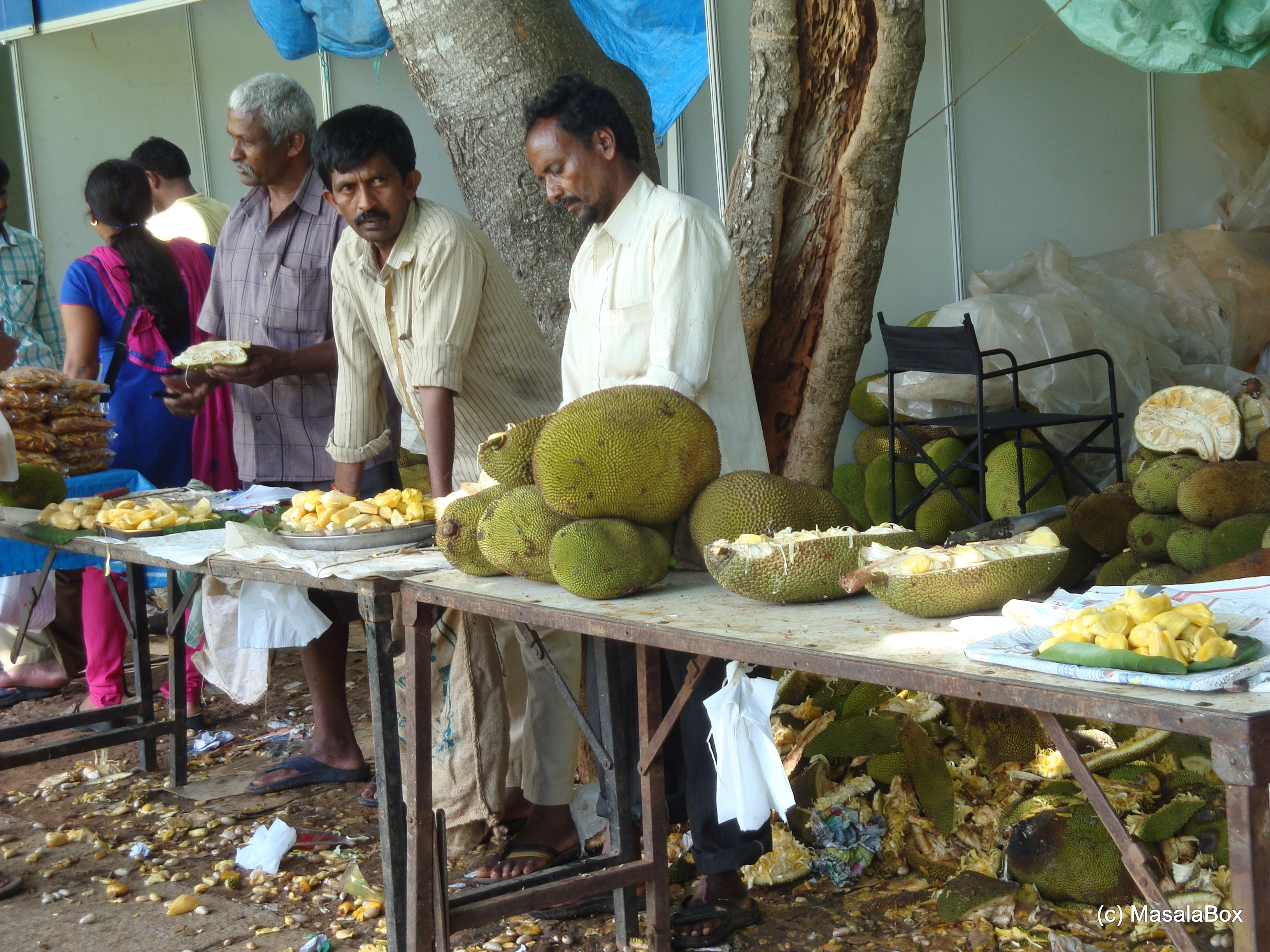 Farmers working on the fresh Jack Fruit.