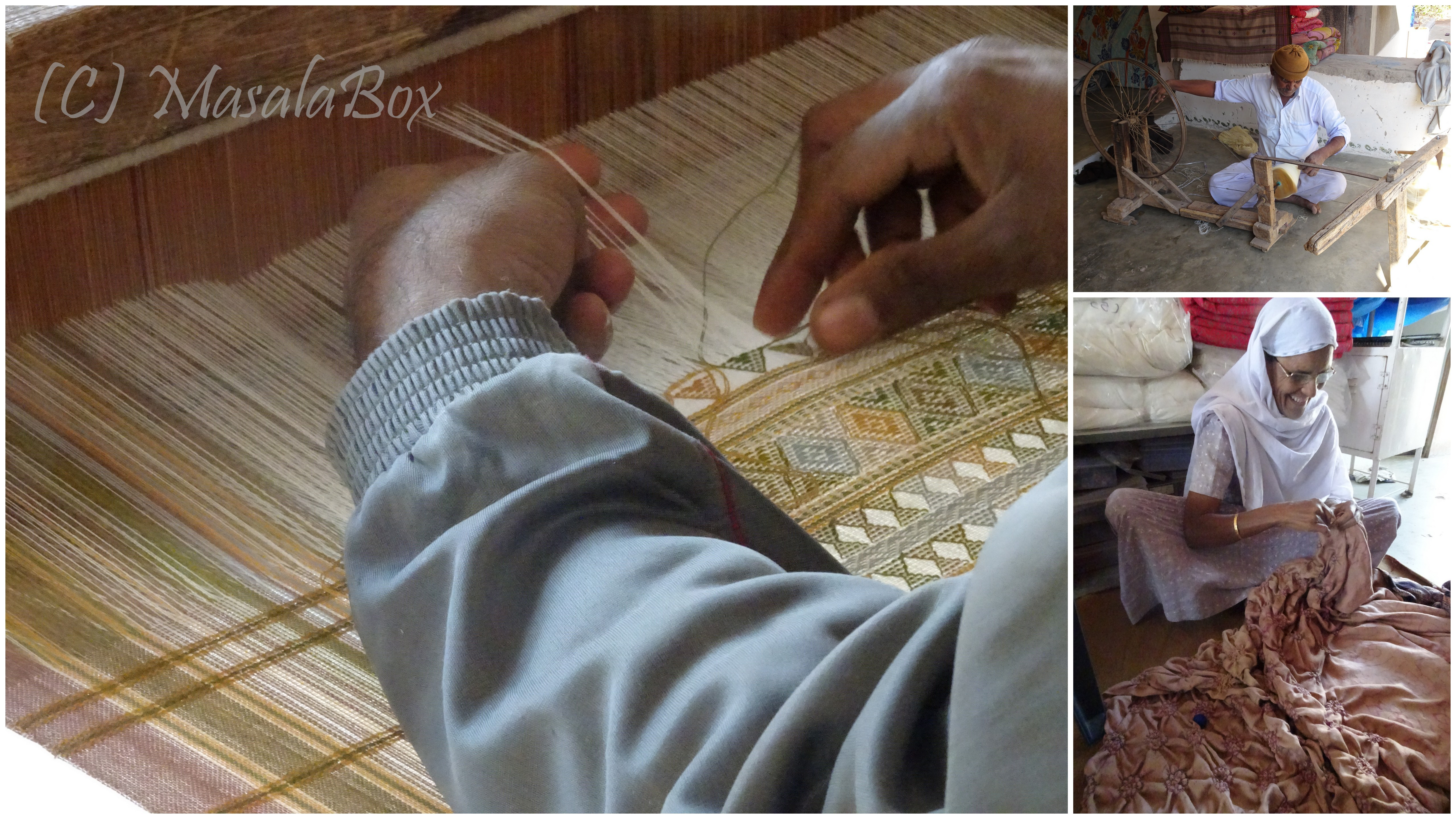 Weaver at work, spinning thread and a woman doing bhandani work