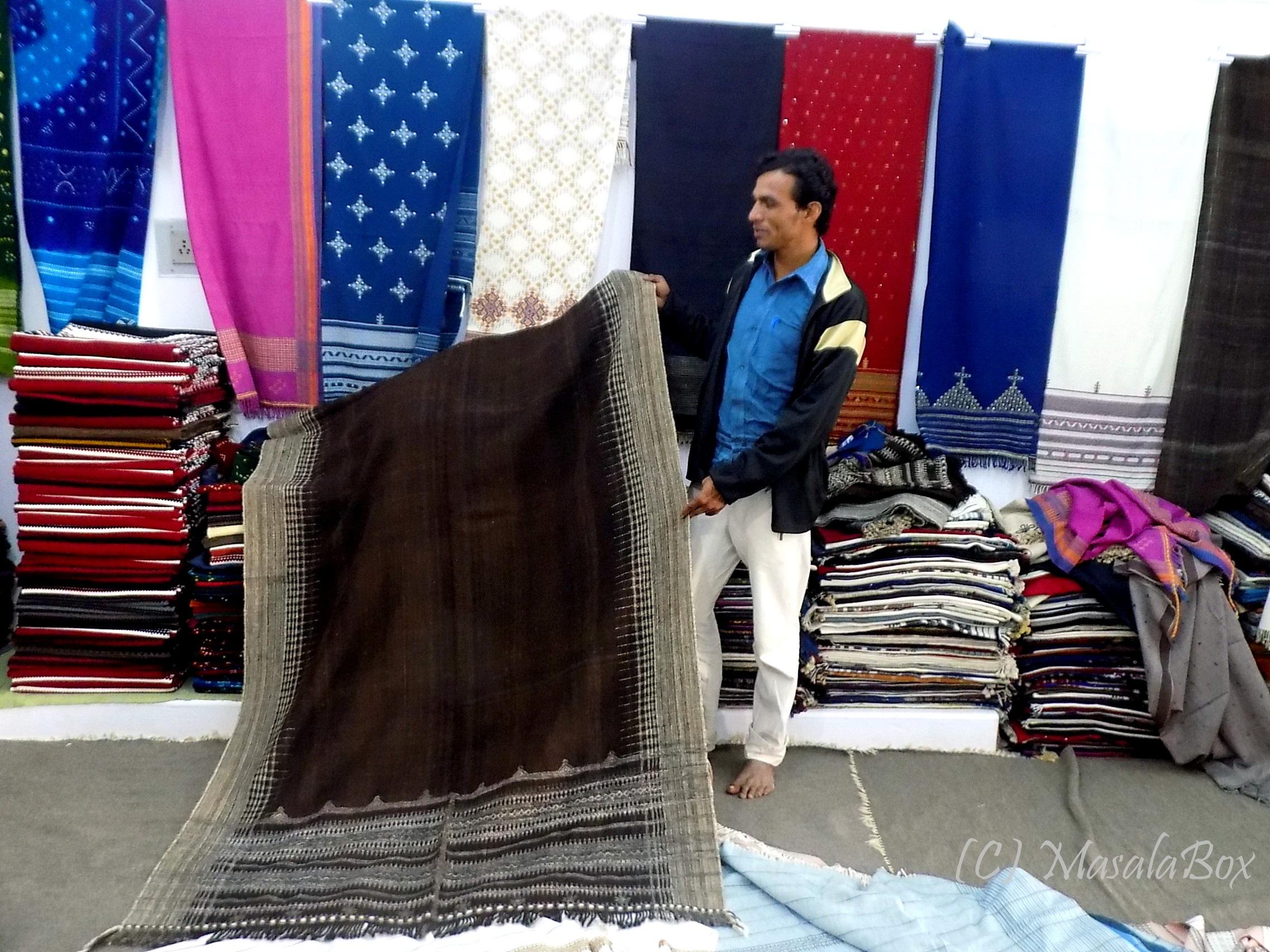 Shwals and bedsheets in display at Vankar Vishram ji shop