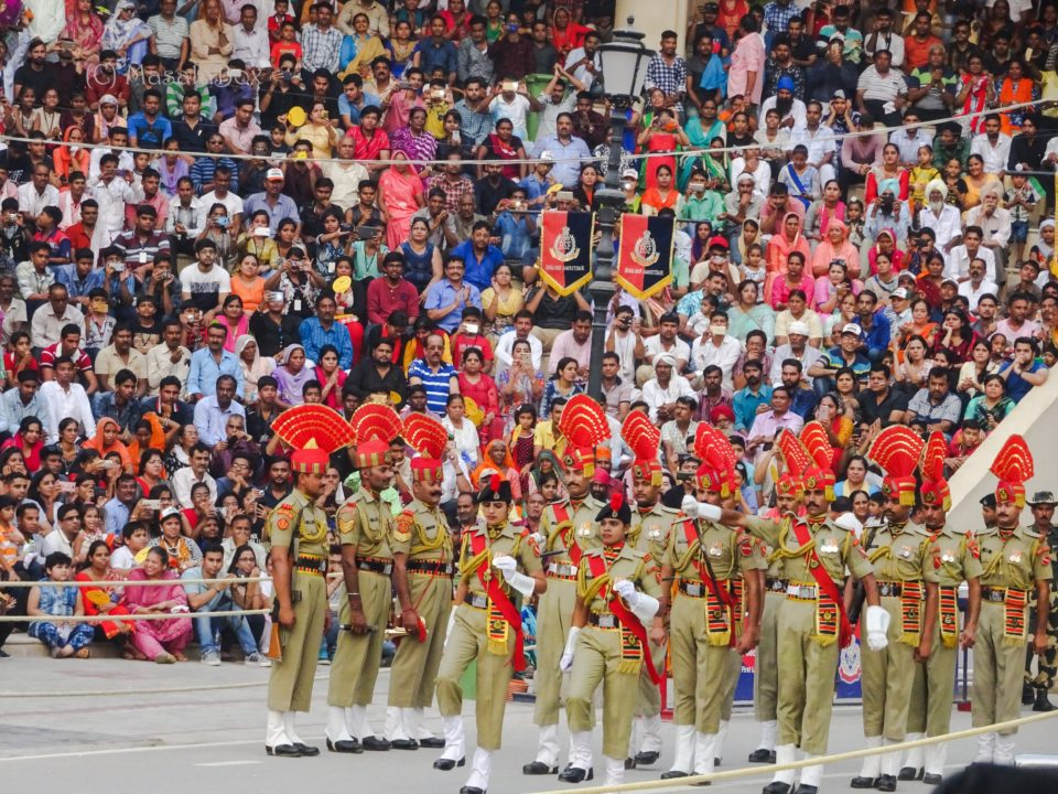 bsf soldiers at flag down ceremony