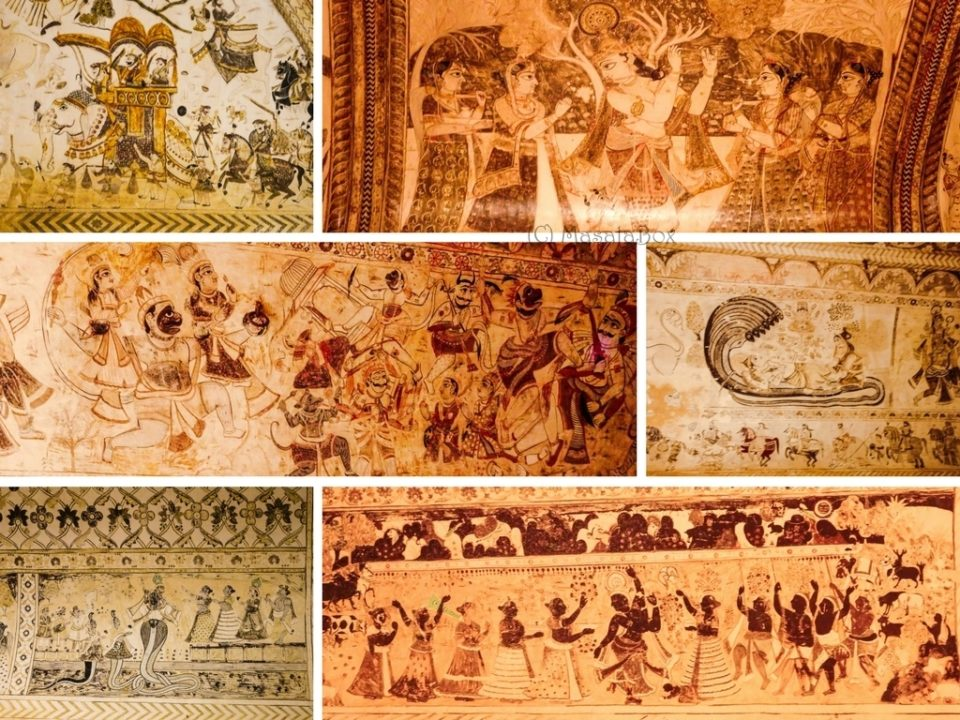 Murals of lakshminarayan temple orchha