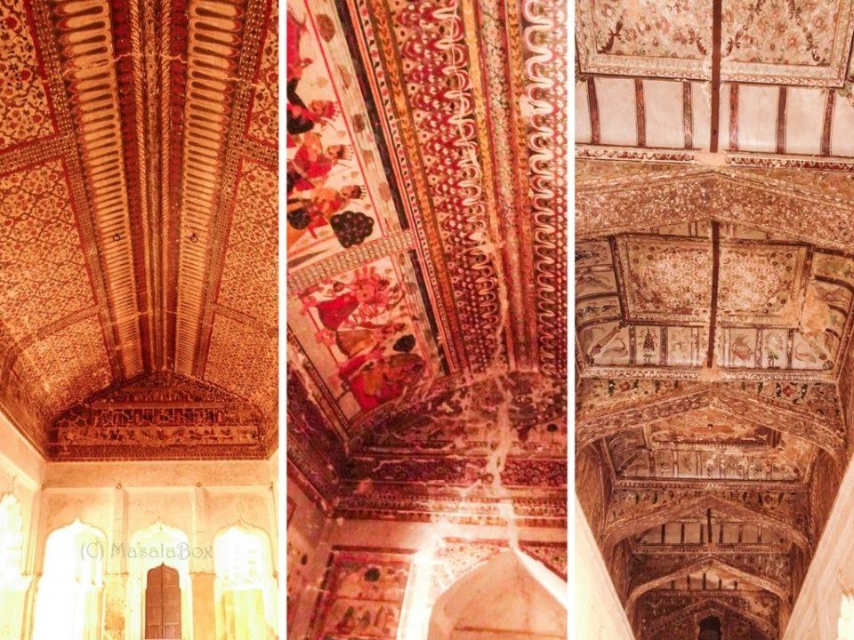 murals on ceiling raja mahal orchha