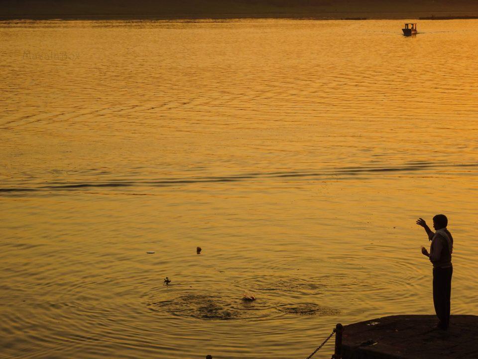 Man feeding fish - narmada river