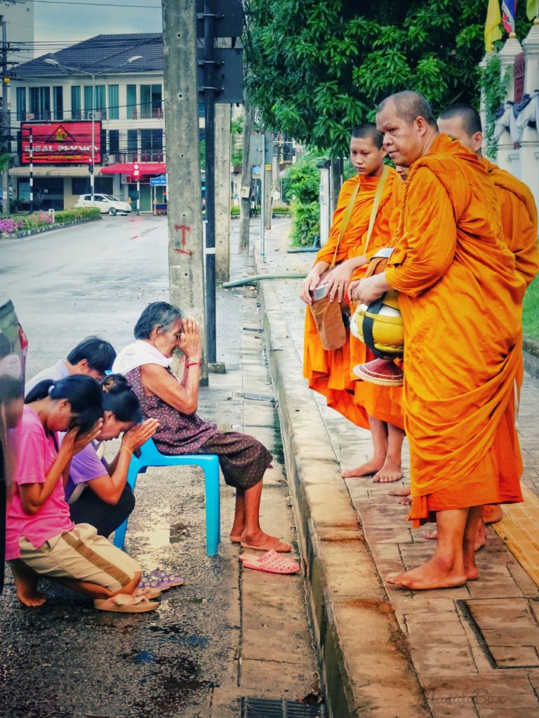 Alms to buddhist monks