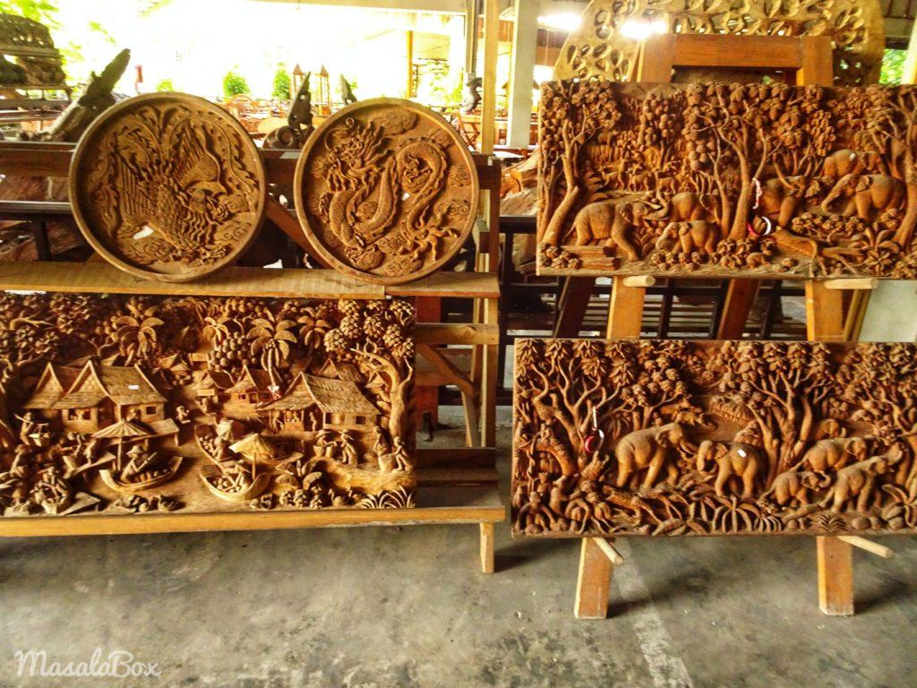Sankampaeng wood carvings