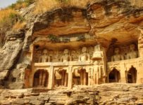 The huge Jain rock cut temples of Gwalior