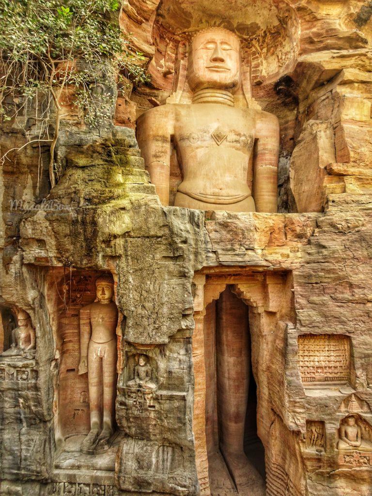 48ft tall Shri Adhinath at Gopachal caves