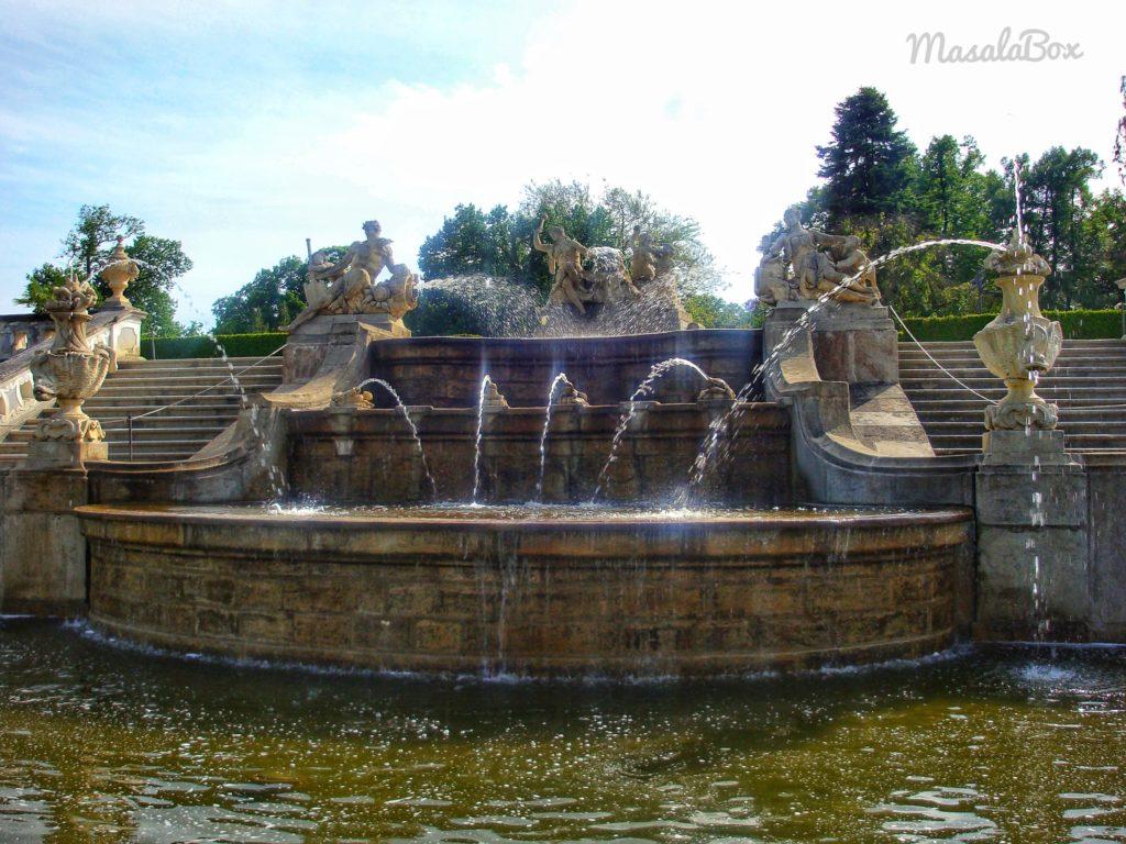 Cesky Krumlov garden fountain